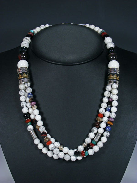 "Navajo White Marble 24"" Multi Strand Bead Necklace"