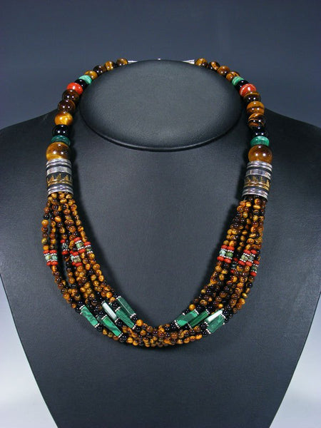"24"" Navajo Tiger Eye and Malachite Multi Strand Beaded Necklace"