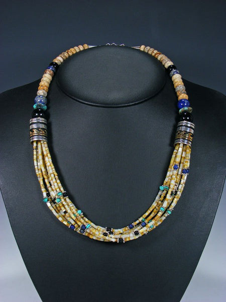 "24"" Shell Heishi and Lapis Multi Strand Bead Necklace"