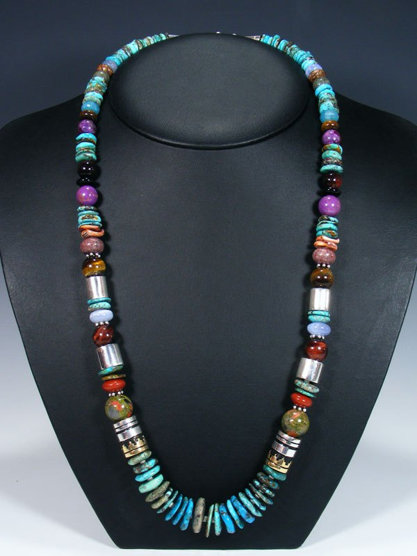 "Native American 28"" Single Strand Turquoise Necklace"