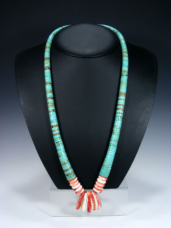 Native American #8 Turquoise and Spiny Oyster Single Strand Necklace