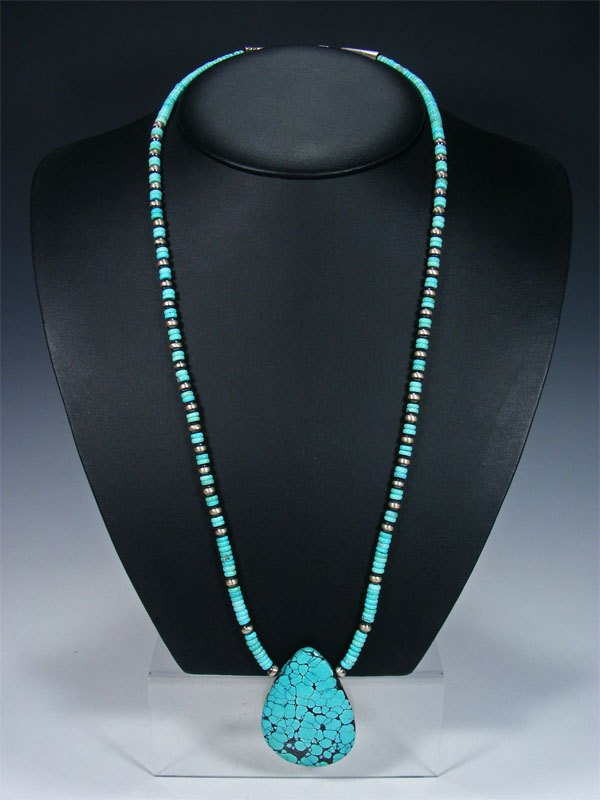 "29"" Native American Jewelry Single Strand Turquoise Nugget Necklace"