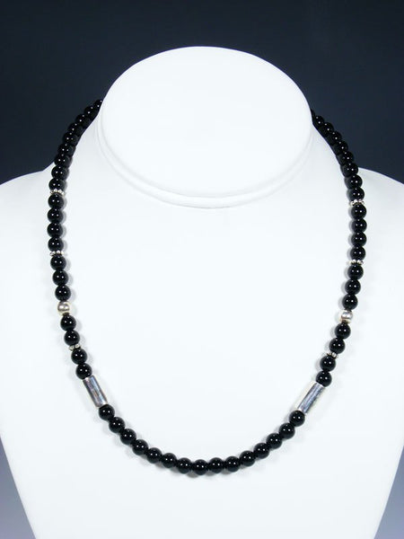 "18"" Black Onyx Single Strand Choker Bead Necklace"