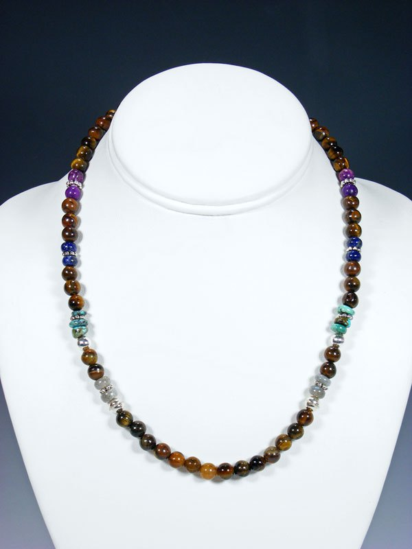 "18"" Tigers Eye Single Strand Choker Bead Necklace"