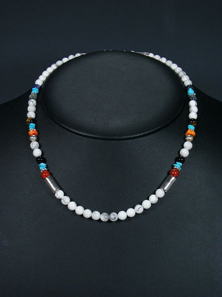 "18"" White Marble Single Strand Choker Bead Necklace"