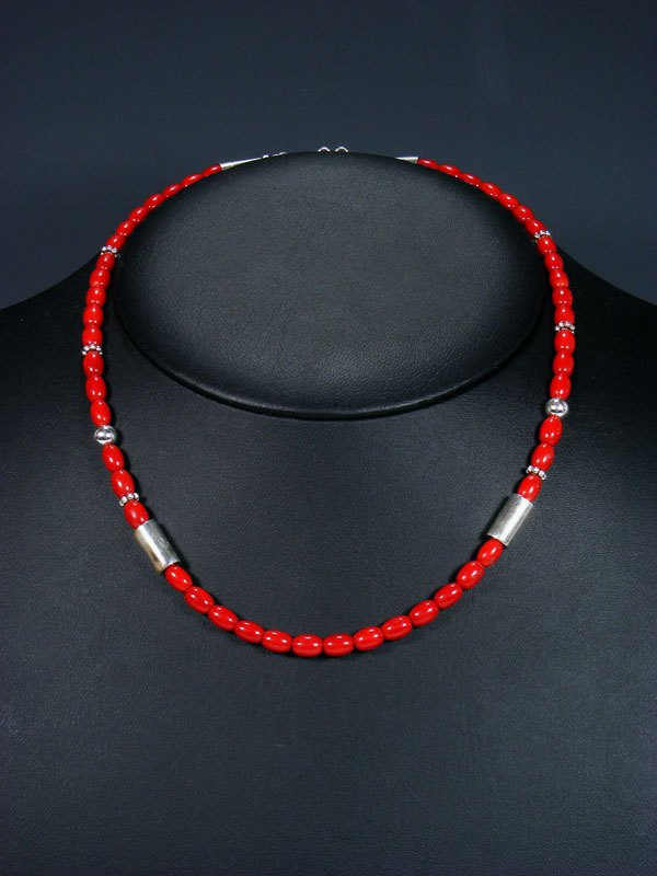 "18"" Coral Single Strand Choker Bead Necklace"