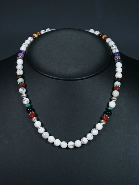 "20"" Single Strand Beaded White Marble Necklace"