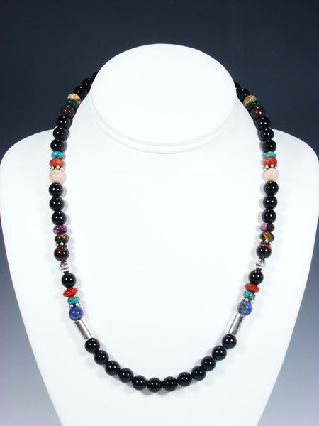 "20"" Single Strand Beaded Onyx Necklace"