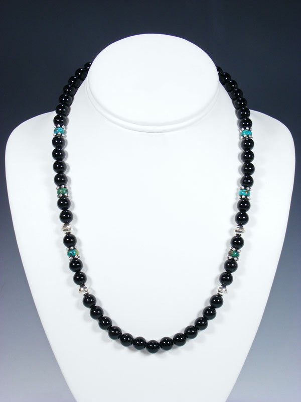 "20"" Single Strand Beaded Onyx and Turquoise Necklace"