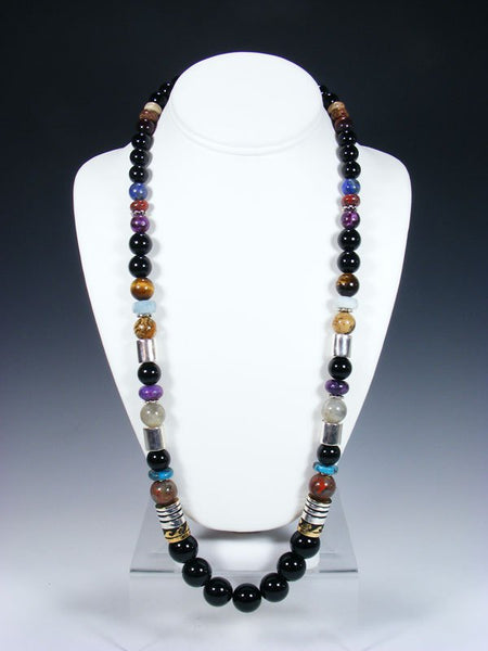 "Black Jade 28"" Single Strand Beaded Necklace"
