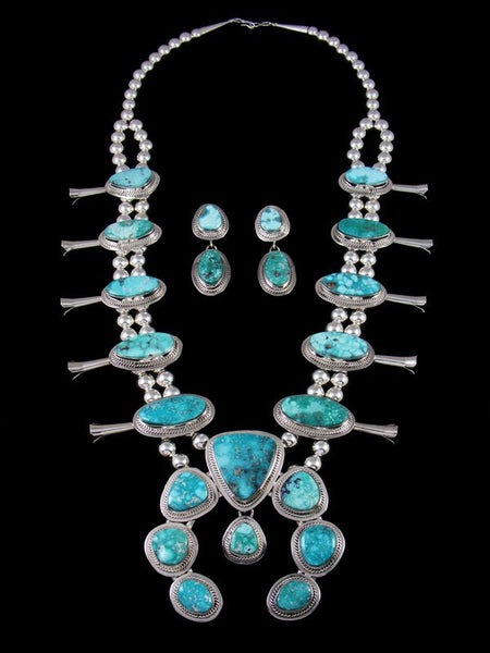 Native American White Water Turquoise Squash Blossom Necklace Set