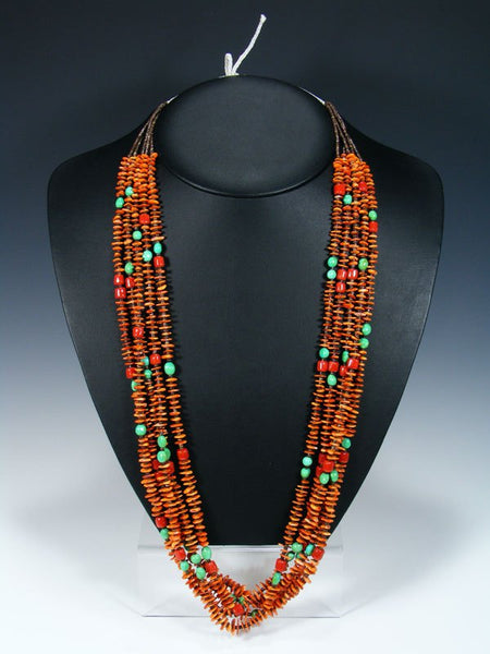 Native American Santo Domingo Spiny Oyster Coral and Turquoise Necklace