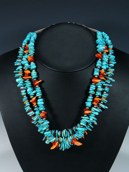 Native American Santo Domingo Coral and Turquoise Necklace