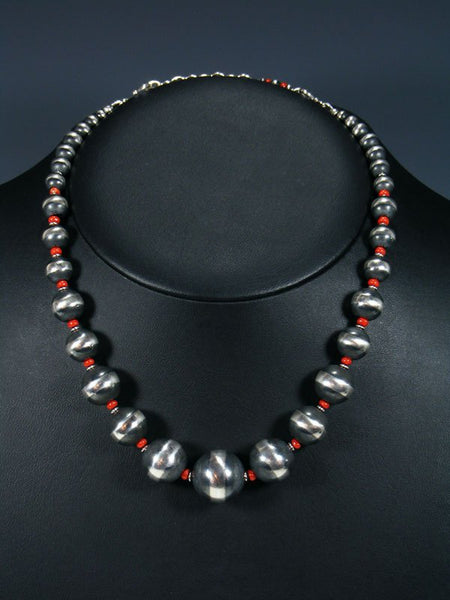 Navajo Red Coral and Sterling Silver Bead Necklace