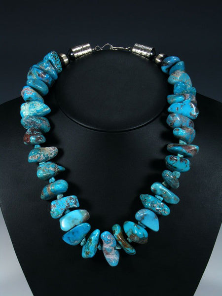 Navajo Jewelry Thick Single Strand Kingman Turquoise Necklace