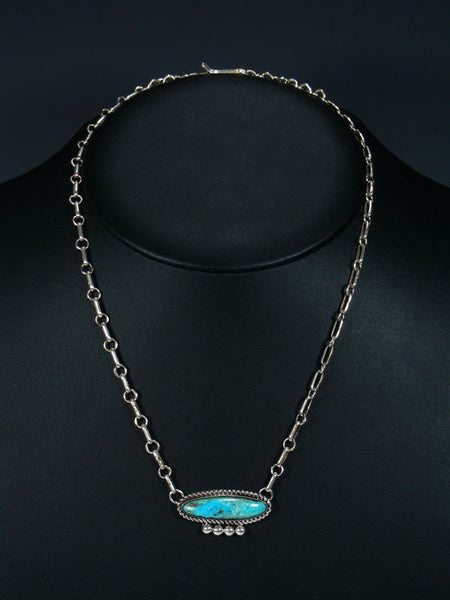 Navajo Candelaria Turquoise Link Chain Necklace