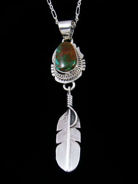 Native American Indian Jewelry Pilot Mountain Turquoise Feather Pendant