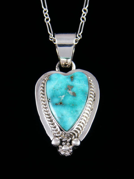 Native American Indian Jewelry White Water Turquoise Heart Pendant