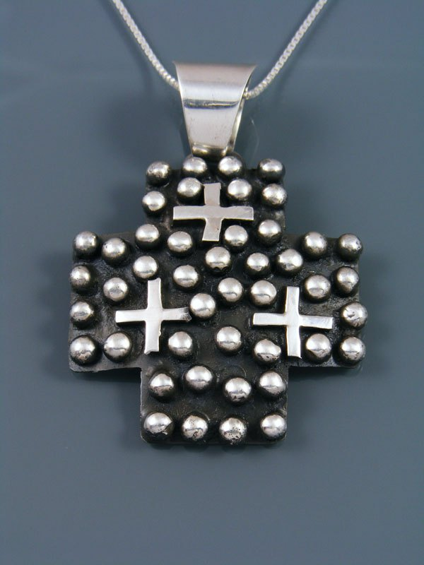 Native American Indian Droplet Cross Pendant