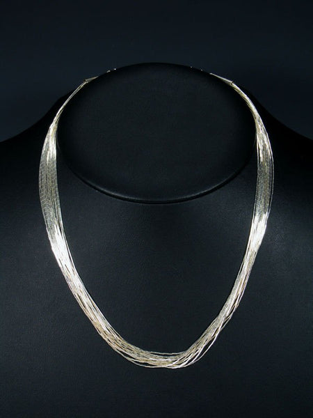 "15 Strand Liquid Silver 18"" Necklace"