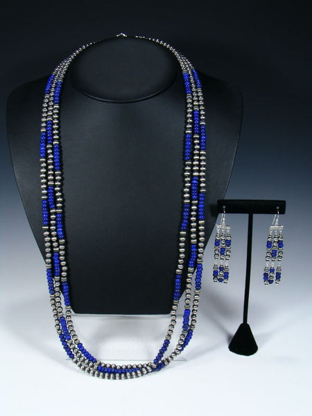 Native American Sterling Silver and Lapis Three Strand Bead Necklace Set