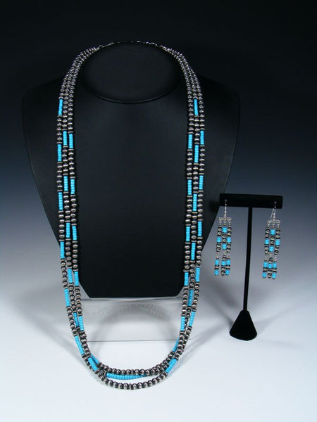 Native American Sleeping Beauty Turquoise Three Strand Bead Necklace Set