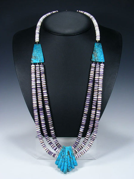 Native American Santo Domingo Turquoise and Wampum Necklace