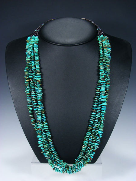 Native American Indian Turquoise and Heishi Four Strand Necklace