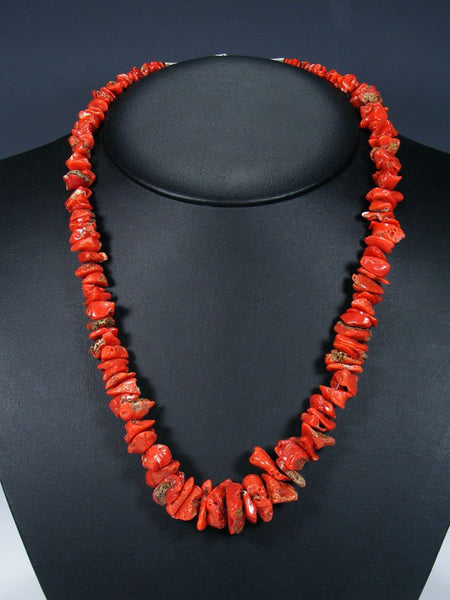 Native American Natural Coral Single Strand Necklace