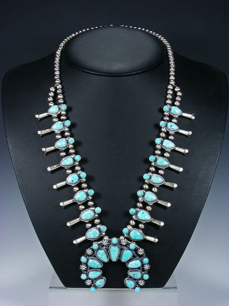 White Water Turquoise Sterling Silver Squash Blossom Necklace Set