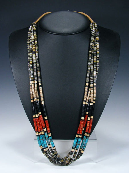 Five Strand Native American Santo Domingo Heishi Necklace