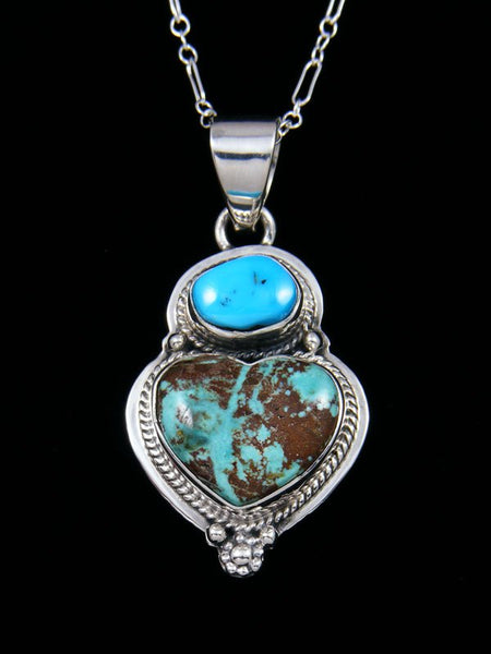 Native American Indian Jewelry Sierra Nevada Turquoise Heart Pendant