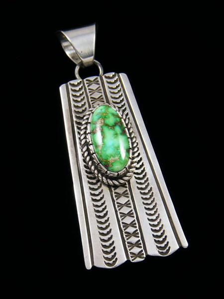 Native American Sonoran Gold Turquoise Sterling Silver Pendant