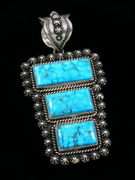 Native American Kingman Turquoise Star Burst Pendant