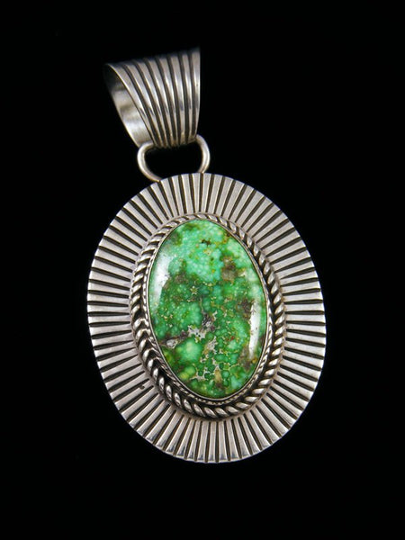 Native American Sonoran Gold Turquoise Cold Chisel Sterling Silver Pendant