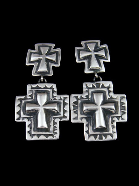 Navajo Sterling Silver Cross Post Earrings