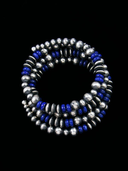Native American Sterling Silver Lapis Bead Wrap Bracelet