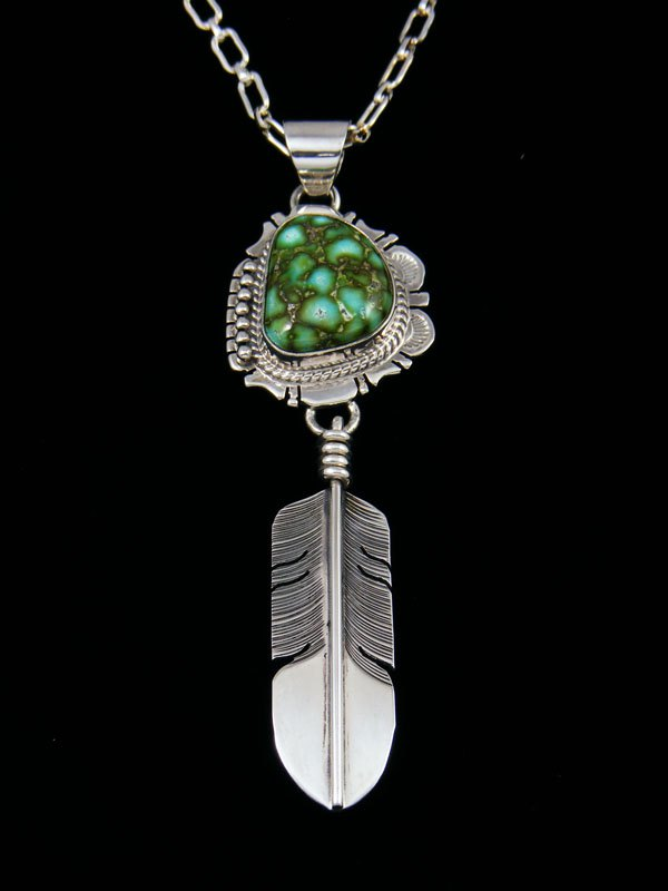 Native American Indian Jewelry Sonoran Turquoise Feather Pendant