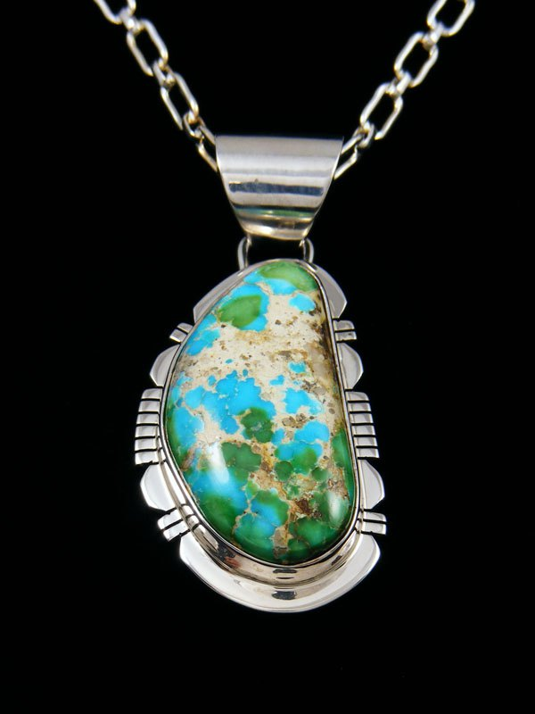 Native American Indian Jewelry Sonoran Gold Turquoise Pendant