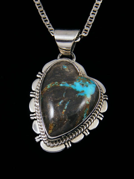 Candelaria Turquoise Navajo Sterling Silver Heart Pendant