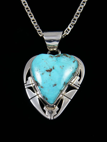 Kingman Turquoise Native American Sterling Silver Heart Pendant