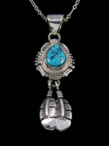 Kingman Turquoise Navajo Sterling Silver Feather Pendant