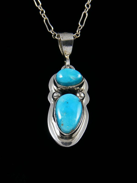 New Navajo Sonoran Turquoise Sterling Silver Pendant with Feather 18 Necklace Native American Indian Jewelry Artist Lyle Piaso