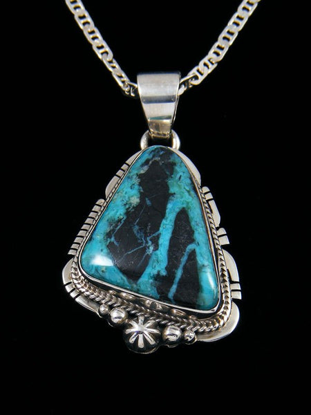 Native American Blue Daimond Turquoise Sterling Silver Pendant