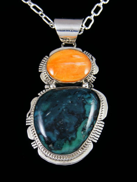 Native American Indian Jewelry Nevada Variscite and Spiny Oyster Pendant