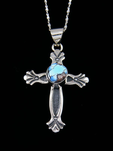 Navajo Necklace Golden Hill Turquoise Cross Pendant