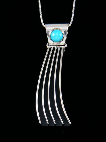 Navajo Sculpted Sterling Silver Turquoise Pendant
