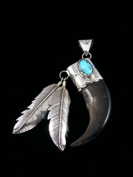 Navajo Turquoise and Claw and Feathers Pendant
