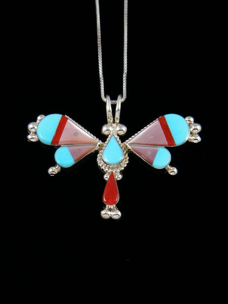 Sterling Silver Native American Zuni Inlay Dragonfly Pendant