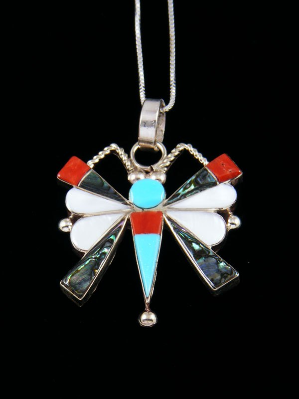 Native American Zuni Inlay Butterfly Pendant